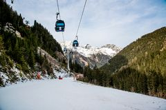 Cableway in the Alps mountains. Austria, Ischgl. Cable car in the Alps. Austrian ski resort Ischgl. Europe Stock Photography