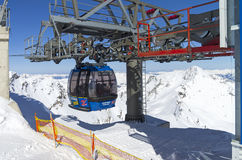 Cableway in the Austrian Alps. Royalty Free Stock Photo