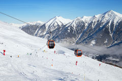 Cableway in Austrian ski resort Stock Images