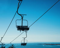 Cableway on background of blue sky Royalty Free Stock Photo