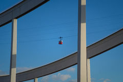 Cableway in Barcelona. Arial cableway against a blue sky Barcelona stock photo