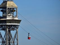 Cableway barcelona. Old cableway over barcelona harbour Stock Photo