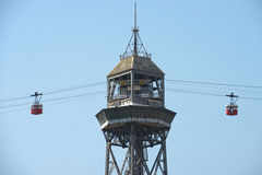 Cableway, Barcelona, Spain Stock Images
