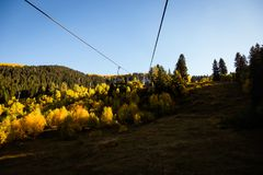 Cableway and beautiful autumn mountain landscape in Svaneti. Geo Royalty Free Stock Photos
