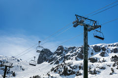 Cableway in the mountains. Cableway in beautiful mountains of Pyrenees Royalty Free Stock Image