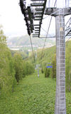 Cableway in beaver log. Krasnoyarsk Royalty Free Stock Photo