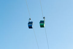Cableway with a blue sky un santiago chile. In latinamerica stock images