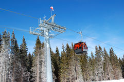 Cableway cabin at Jasna Low Tatras ski resort Royalty Free Stock Image
