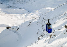 The cableway cabin of Valluga station in St. Anton Stock Image