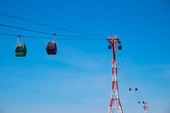 Cableway with cabins Royalty Free Stock Images