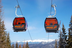 Cableway cabins at Jasna Low Tatras Stock Images