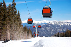 Cableway cabins at the popular ski resort Royalty Free Stock Image