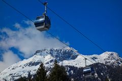 Cableway or cablecar mountain snow winter sky stock photography