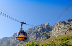 Cableway and car up to Table Mountain, Cape Town Royalty Free Stock Photos