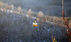 Cableway and caucas mountains winter time Russian Federation. The Cableway and caucas mountains winter time Russian Federation stock photography