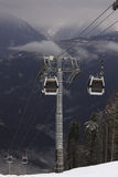 Cableway in Caucasian mountains Stock Photo