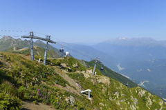 Cableway in the Caucasus Royalty Free Stock Image