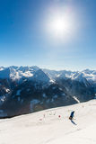 Cableway and chairlift in ski resort Bad Gastein in mountains, Austria Royalty Free Stock Photos