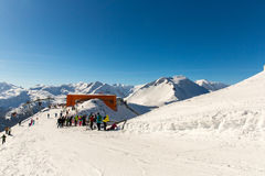 Cableway and chairlift in ski resort Bad Gastein in mountains, Austria. Stock Photo