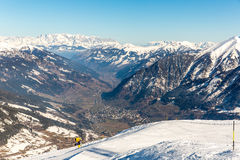 Cableway and chairlift in ski resort Bad Gastein in mountains, Austria. Royalty Free Stock Images