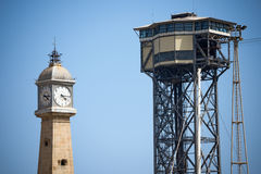 Cableway and Clock Tower - Barcelona Spain Royalty Free Stock Photo