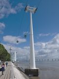 Cableway on the coast Tejo - Lisbon Stock Photography