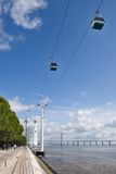 Cableway on the coast Tejo - Lisbon Stock Images