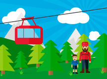 Cableway with dad and son on the trip Royalty Free Stock Photo