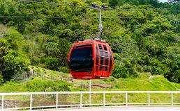 Cableway down from top of a mountain view royalty free stock images