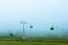 Cableway in the fog in the black forest Germany. Feldberg Stock Images