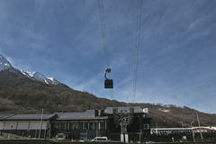 Cableway. Funicular mountains blue sky Stock Image