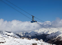 Cableway high in mountains Royalty Free Stock Image
