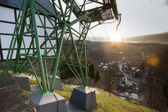 Cableway in historic town burg near solingen germany. The cableway in historic town burg near solingen germany stock photo