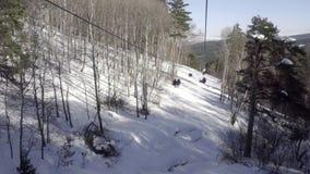 Cableway i bergen lager videofilmer