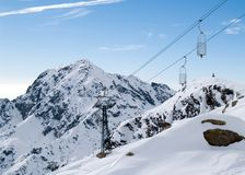 Cableway in Italian Alps. (winter stock images
