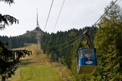 Cableway -Jested tv tower in Liberec -Czech republic Stock Image