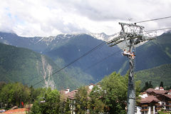 Cableway in Krasnaya Polyana, Sochi, Russia Royalty Free Stock Images