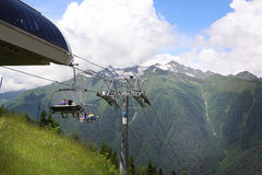 Cableway in Krasnaya Polyana, Sochi, Russia Royalty Free Stock Image