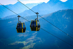 Cableway lift transportation in the alps mountains Royalty Free Stock Photo