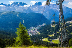 Cableway in Madonna di Campiglio, a town in Trentino , Italy. Cableway over the mountain of Madonna di Campiglio, a town in the Alps of Trentino , Italy royalty free stock photos