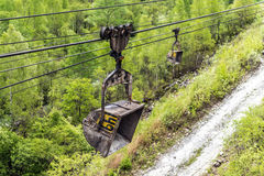 Cableway in the mining industry for the extraction of gravel Royalty Free Stock Photography
