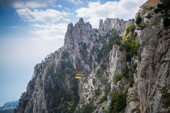 Cableway Mishorthe. View from the mount AI-Petri. In Yalta and Gaspra, Crimea royalty free stock photos