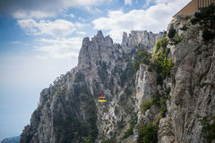 Cableway Mishorthe. View from the mount AI-Petri. In Yalta and Gaspra, Crimea stock photos