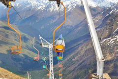 Cableway. Mountain old dangerous cableway in Russia stock photo