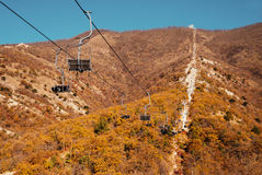 Cableway in mountains Stock Photography