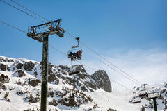 Cableway in the mountains. Cableway in beautiful mountains of Pyrenees with the people Royalty Free Stock Image