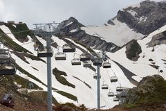 Cableway in mountains Royalty Free Stock Photography
