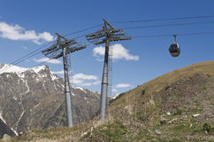 Cableway in the mountains of Dombai. Stock Image