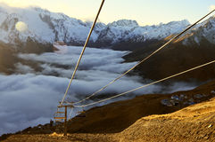 Cableway in mountains Stock Image