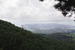 The cableway in mountains royalty free stock image